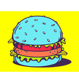 big blue unusual burger on yellow backgro vector image