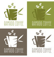 green bamboo cup with coffee and leaves design vector image