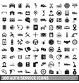100 auto service center icons set simple style vector image vector image