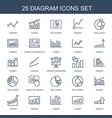 25 diagram icons vector image vector image