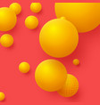 3d yellow balls on red background abstract vector image vector image