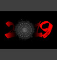 abstract number 2019 and bicycle wheel from blots vector image vector image