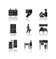 airport terminal drop shadow black glyph icons vector image vector image
