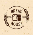 bakery vintage emblem with bread and wheat vector image vector image