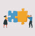 big puzzle in couple hands vector image vector image