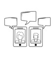 chats on smartphone in black and white vector image vector image