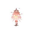 china country building asia people concept vector image