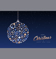 christmas and new year ball made of copper icons vector image vector image