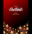 christmas gold star background with pearls and vector image