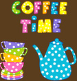 Coffee time with stacked colorful cups and coffee vector image