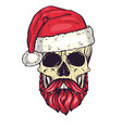 color handdrawn angry skull of santa claus vector image