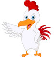 cute chicken cartoon presenting vector image vector image