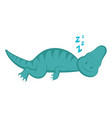 cute dinosaur cartoon character sleeping vector image