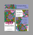 doodl flower style business card set corporate vector image vector image