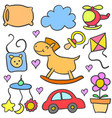 doodle of baby colorful set style vector image vector image