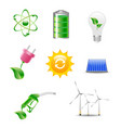 eco friendly icon set in green vector image