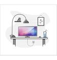 Flat creative home freelance desktop workspace vector image