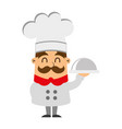 funny chef with tray avatar character vector image vector image