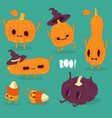 funny pumpkins wish you a happy halloween vector image