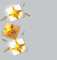gift boxes with golden bow realistic vector image vector image