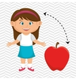 girl cartoon fruit apple red vector image