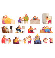 gluttony icons set vector image vector image