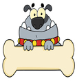 gray bulldog and bone sign vector image vector image