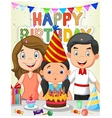 Happy girl blowing birthday candles with her famil vector image vector image
