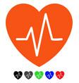 heart ekg flat icon vector image vector image