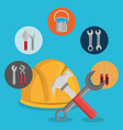 helmet with under construction equipment vector image vector image