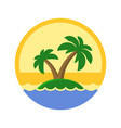 island with palm trees cute logo vector image vector image