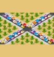 isometric crossroads intersection vector image vector image