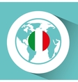 italy flag pin map design vector image vector image