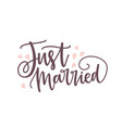 just married phrase or inscription written with vector image vector image