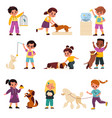 kids with pets children with domestic animals vector image