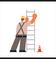 male builder climbing ladder busy workman vector image vector image