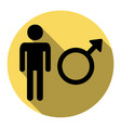 male sign flat black icon vector image