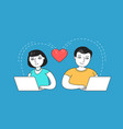 man and woman chatting on dating site love vector image