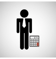 man silhouette business and calculator design icon vector image vector image