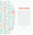 multiple sclerosis concept with thin line icons vector image vector image