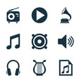 music icons set with volume playlist radio and vector image