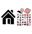 Open House Door Flat Icon with Bonus vector image vector image