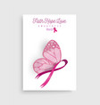 pink breast cancer butterfly ribbon art poster vector image vector image