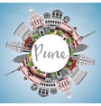 Pune Skyline with Color Buildings vector image vector image