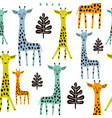 seamless pattern with giraffe palm branch and vector image vector image