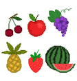 set fruit in pixel art style on a white background vector image