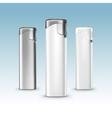 Set of Blank White Plastic Metal Lighters vector image vector image