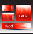 set of red gradient background templates vector image vector image