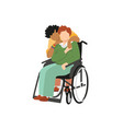 transgender interracial couple one on wheelchair vector image vector image