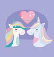 unicorns rainbow mane love heart stars cartoon vector image vector image